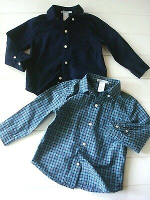 Janie & Jack Toddler Boy 2 2T Dress Shirt Lot Solid + Plaid Check Button Front