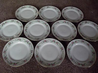 (10) BREAD / DESSERT PLATES, Limoges France Wm Guerin & Co W G Gue139 pink rose