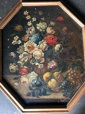 Antique Victorian Floral Painting Oil Fruit Roses Grapes Bouquet Signed 19th C