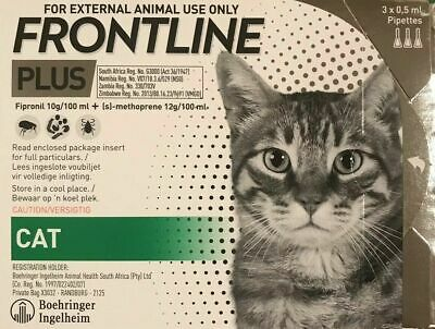 Frontline Plus For Cats 3 DOSES Supply New In Box Fresh Product Exp 2021 - SALE