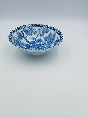 Japanese Fine Porcelain Large Footed Bowl Blue & White Blossom Floral Geometric