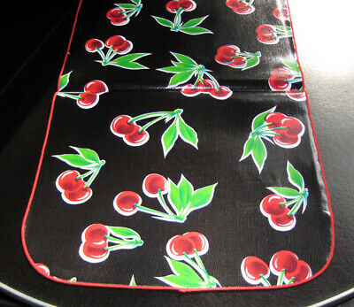 ReTrO Style Black CHERRY Cherries OILCLOTH Dining Table RUNNER RV BBQ Pool Party