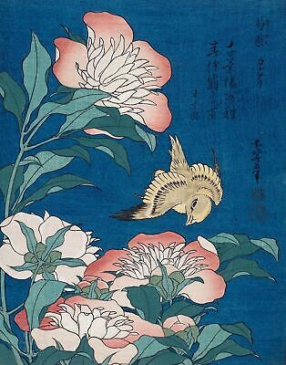 Peonies and canary by Katsushika Hokusai. Fine Art Repro choose Canvas or Paper