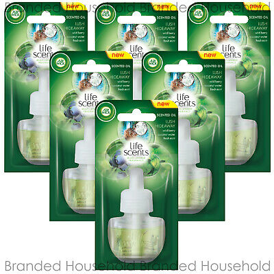 6 x AIR WICK ELECTRICAL PLUG IN OIL REFILLS AIR FRESHENER 17ML LUSH HIDEAWAY