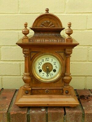 Antique German Hac Large Mantle Or Bracket Clock In  Working Order