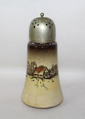 Elegant CountrySide Pottery EPNS COTTAGE WINDMILL Sugar Shaker Muffineer England