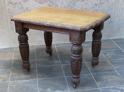 Antique Dining Table Oak Heavily Carved Victorian Vintage - We Can Deliver