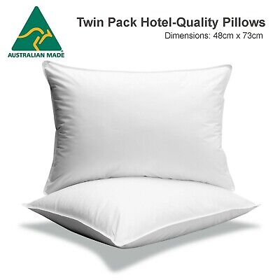 AUSTRALIAN MADE: 2 x Aus Made Luxury Hotel Quality Finest Cotton Cover Pillows