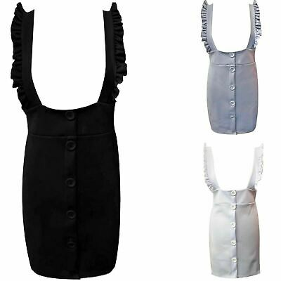 Ladies Strappy Ruffle Frill Bodycon Pinafore Dress Women Short Mini Button Dress