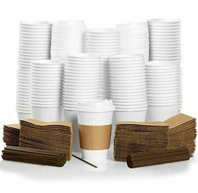 100 Pack - 16 oz To Go Coffee Cups with Sleeves, Lids & Stirrers - Disposable &