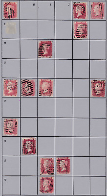 PLATE 151-5 SG43 1d GB Victorian Penny Red stamps Letter/cancellations CHEAP lot