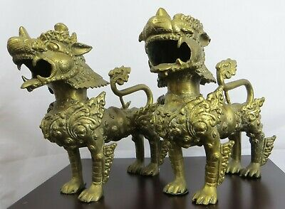Antique Chinese Pair Of Bronze Buddhist Foo / Fu Dogs Armored Lion Guardians