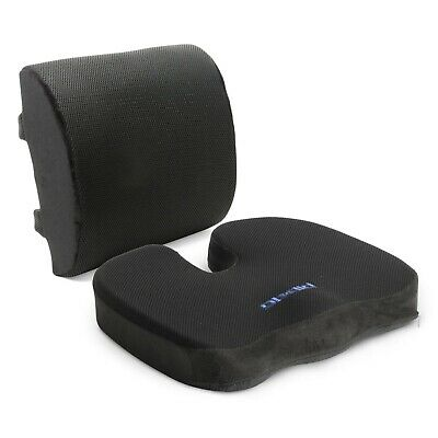 Plixio Memory Foam Seat Cushion and Lumbar Back Support Pillow for Office or Car