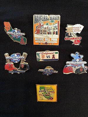 Lot Of Seven (7) 2002 Sf Giants Vs La Angels World Series Pins (1) Pac Bell Park