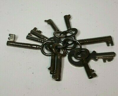 Bunch of 10 Antique Cabinet chest or padlock Keys 1 inch and longer