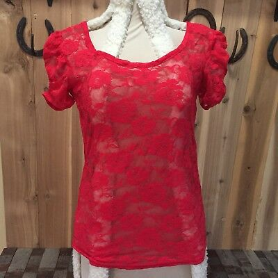 Wet Seal Juniors Rose lace sheer Top Size Large Women's American Dream