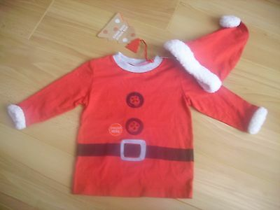 boys/girls next santa christmas top and hat 9-12 months nwt