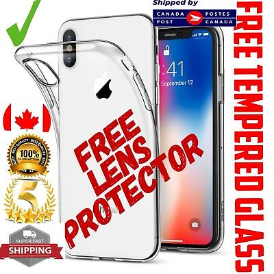 For iPhone Case Cover GEL Clear + Tempered Glass Screen Protector ( All Models )