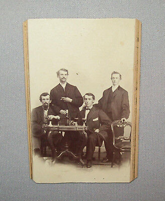 Old Antique Vtg 1880s CDV Photo Four Young Men Drinking Glasses Identified Photo