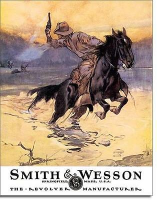 Smith & Wesson Wildwest Cowboy Reiter Vintage Style USA Metall Schild