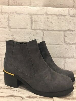 Brand New Girls New Look Grey Chelsea Ankle Boots Uk4 EU37