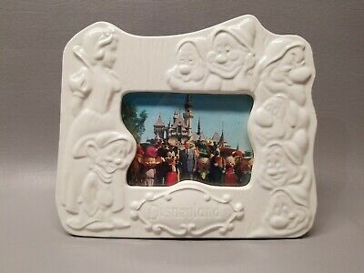 Vintage Disneyland White Ceramic Snow White and the 7 Dwarfs Picture Frame