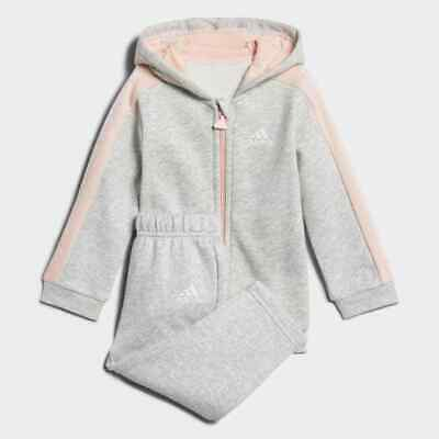 Adidas Girls Fun Polar Full Tracksuit Kids Grey-Coral Tracksuit 2-3 Years