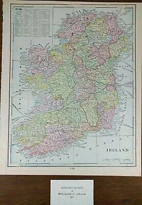 """Vintage 1902 IRELAND Atlas Map 11""""x14"""" ~ Old Antique MAYO DONEGAL GALWAY MAPZ"""