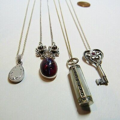 4 PC Lot Sterling Silver Vintage Pendant Necklaces Key Siam Star Tube 19 Grams