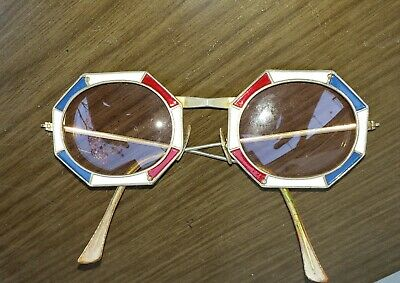 eb9c59cc6d38 Ultra Rare 1960 Christian DIOR octagonal Red White   Blue Enamel Sunglasses