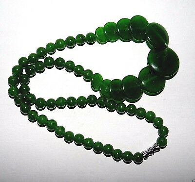 "Vtg Chinese Handmade Green Nephrite Graduated Folding Disks Necklace 18""L"