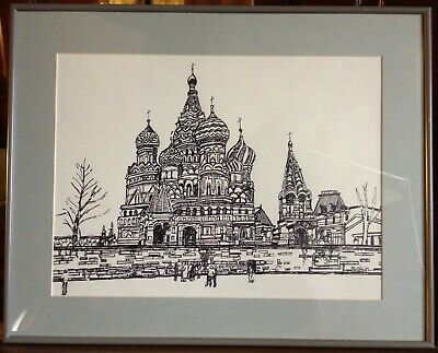 Vintage ink painting St Basil's Cathedral in Moscow Fully Framed.