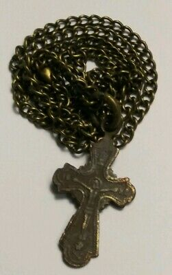 Antique Religious Authentic  Medieval Golgotha Crucifix  Rare  Pendant Necklace