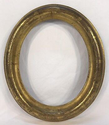 Antique Mid 19th C Oval Gold Gilt Frame 9 3/4 x 11 5/8 Opening