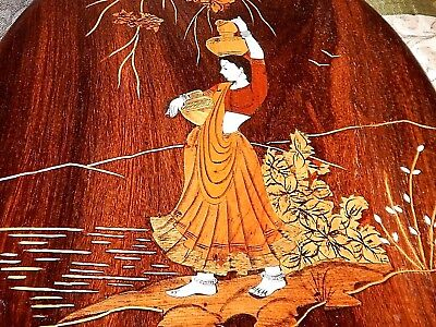 Handmade, Wood Marquetry of Palestinian Woman. Dozens of individual wood pieces.