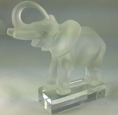 "Majestic Lalique Frosted Crystal Glass ""Trunk Up The Lucky Elephant"" Statue"