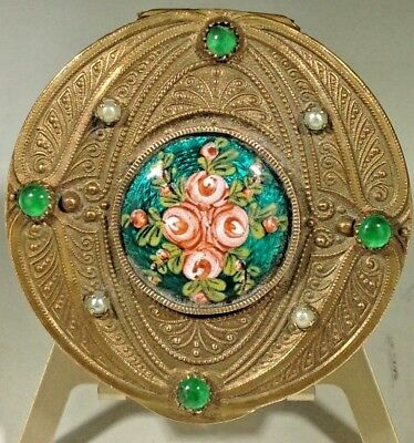 Antique French Empire Gold Jeweled Painted Enamel Omolu Mirrored Compact Box