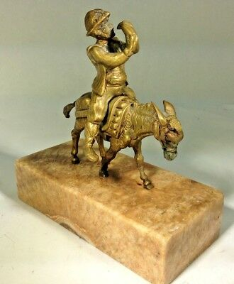 Antique German Man on Donkey Drinking from Canteen on Marble Base Brass Statue