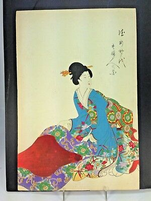 Antique Magnificent Japanese Color Woodblock Geisha Print Signed