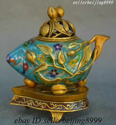 Collect China Dynasty Bronze Cloisonne Enamel Peach Incense Burner Censer Statue