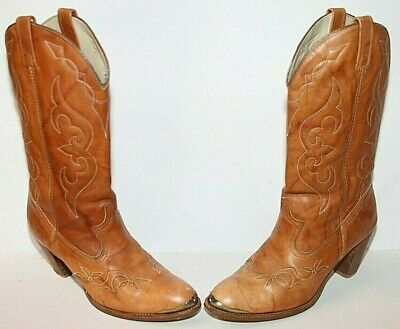 ff7ce672a28f4 ACME MARBLE BROWN Leather Cowboy Western Boots Womens Size 8.5 M Style 8827
