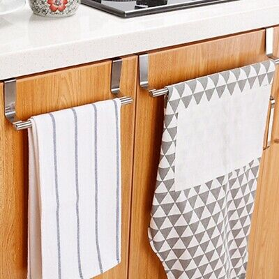 Towel Rack Bar Hanging Holder Over The Kitchen Bathroom Cabinet Cupboard Door US