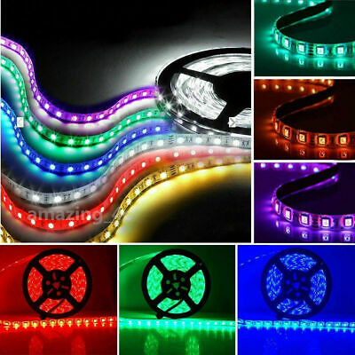 5M SMD 5050 RGB 300 LED Strip Light Connector Wire Cable DC IR Remote UK Adapter