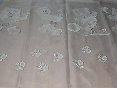 "White voile fabric remnant teddy bear design 78x114 cm (30x45"")"