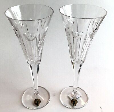 """Waterford Crystal Millennium (Pair) """"Love"""" Toasting Flutes – New with Tags!"""