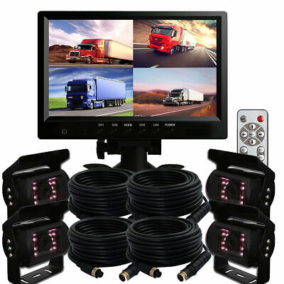 "9"" Quad Split Screen Monitor 4Pc Backup Rear View Ccd Camera System For Truck Rv"
