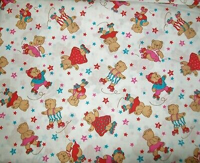 3.5m 1990s TEDDY BEARS 'ROLLER SKATING' FABRIC 110cm wide