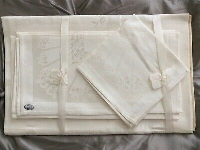 Vintage New White Linen Damask Tablecloth & Napkins