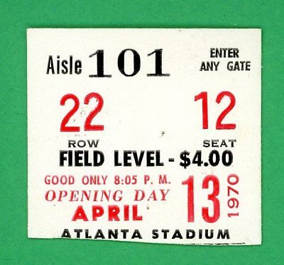 1970 Hank Aaron Home Run #557 Ticket  Opening Day Atlanta Braves v SF Giants