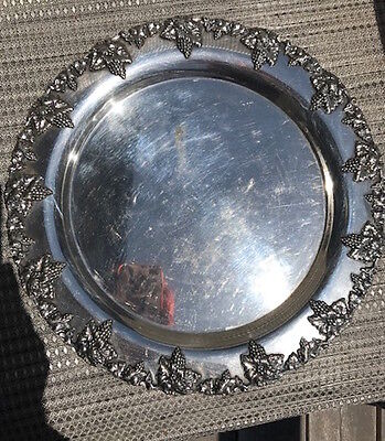 American Sheffield Silver Plate Round Plater Grape Pattern by Lawrence B. Smith